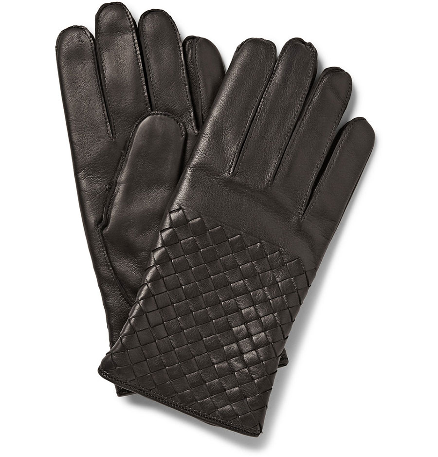 Bottega Veneta Cashmere-Lined Leather Gloves