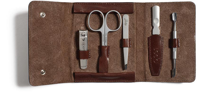 Alpen italian leather manicure kit for Italian kit